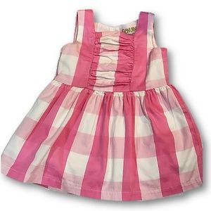 Pink and White gingham sleeveless dress 18 mo